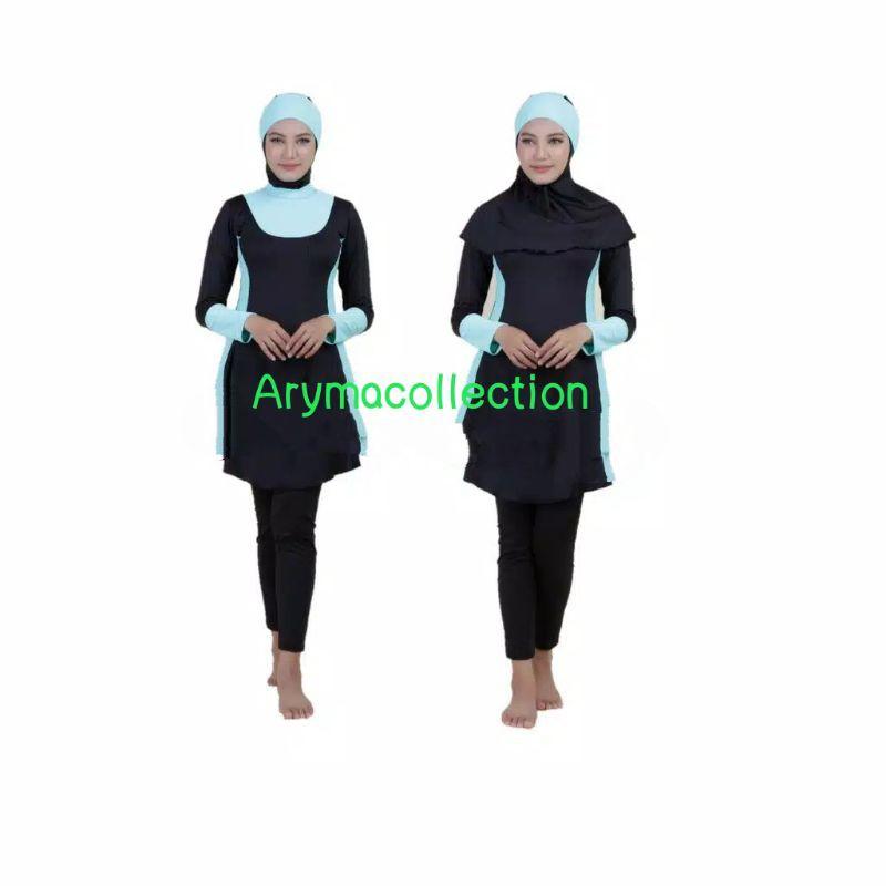 Đồ Bơi Màu Xanh Trơn Cho Phụ Nữ Hồi Giáo