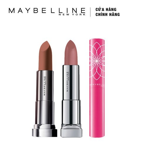 Bộ 3 son môi Maybelline (Creamy Mattes 650 3.9g, Nude Inti Mattes Touch Of Nude 3.9g, Bloom Hồng 1.7