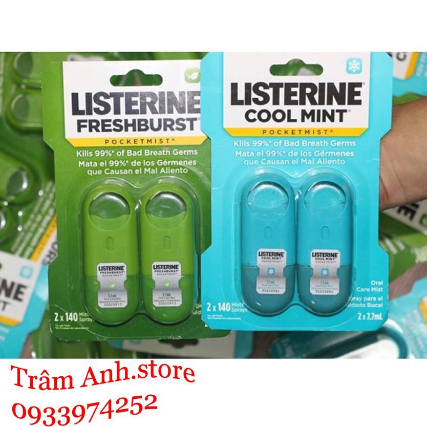 Xịt thơm miệng thơm mát Listerine (7.7ml x 2 tuýt)