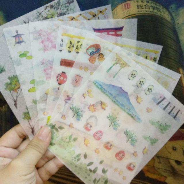 Bộ sticker 6 tấm giấy washi Nhật