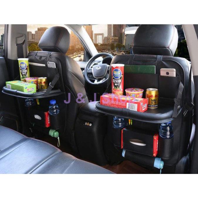 Túi chứa đồ lưng ghế xe ô tô kiêm khay đựng thức ăn bằng Da PU cao cấp
