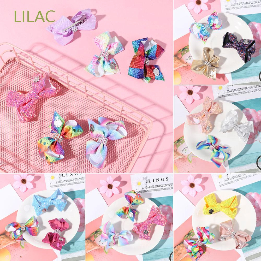 LILAC 3Pcs/Set Lovely Bow-knot Printed Ribbon  Metalic Sequin Hair Clips