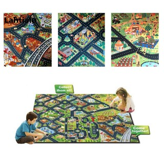 Lahtialu 80x70cm City Traffic Layout Non-woven Cloth Baby Carpet Crawling Mat Play Rug