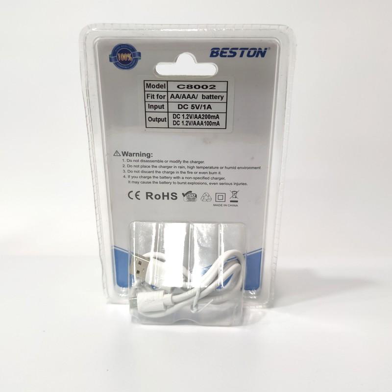 Đế sạc Hộp sạc pin AA/AAA BESTON C8002 4 khe sạc 4 pin cùng lúc ,  dây rời dễ dàng tháo lắp pin AA AAA