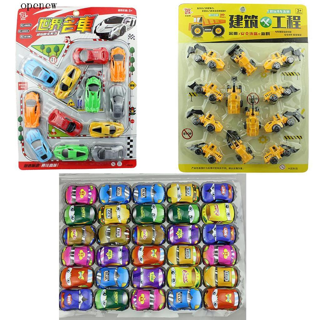 op 12/30PCs Kids Mini Car Truck Construction Vehicle Toy Sets Gift