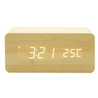 (Siêu phẩm) Đồng hồ để bàn LED CAO CẤP - Sạc không dây - Nhiệt kế - Báo thức - Cảm ứng âm thanh