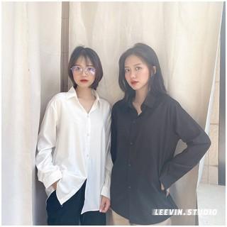 Áo Sơ Mi Nữ Form Rộng TRƠN Basic Unisex Dài Tay Trắng và Đen Kiểu áo sơ mi nữ Bigsize suông Leevin Store