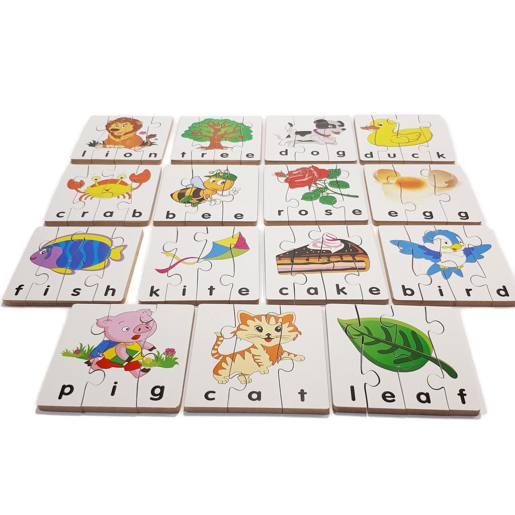 Đồ chơi gỗ WinwinToys bộ xếp hình học chữ Tiếng Anh 1