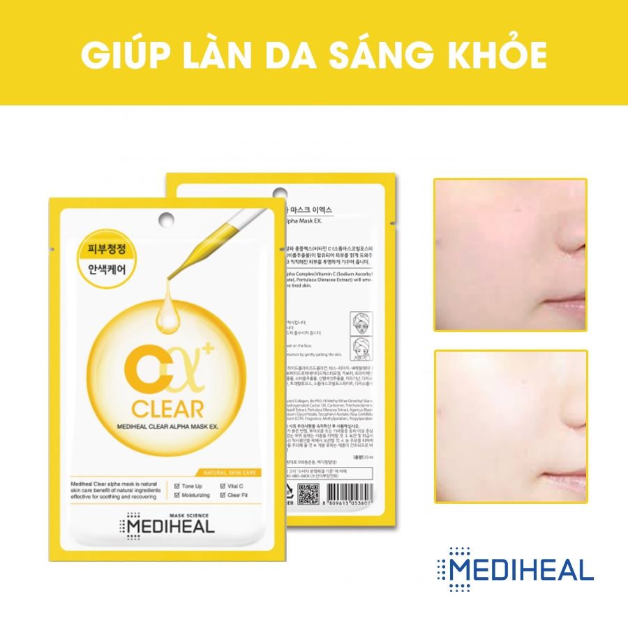 Mặt Nạ Giúp Làm Sạch, Sáng Mịn Da Mediheal Clear Alpha Mask EX 23ml