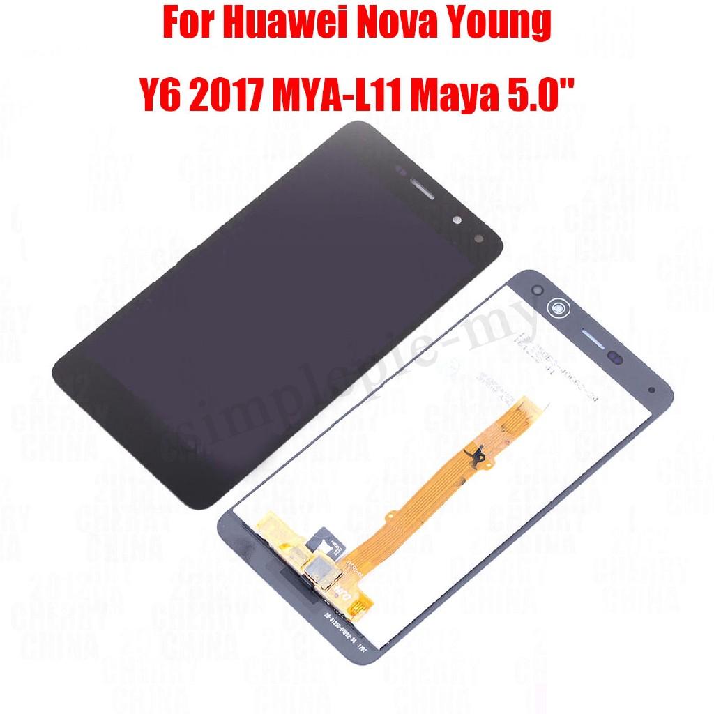 CIN∏จอแสดงผล LCD Touch Screen Digitizer สำหรับ Huawei Nova Young Y 6 2017