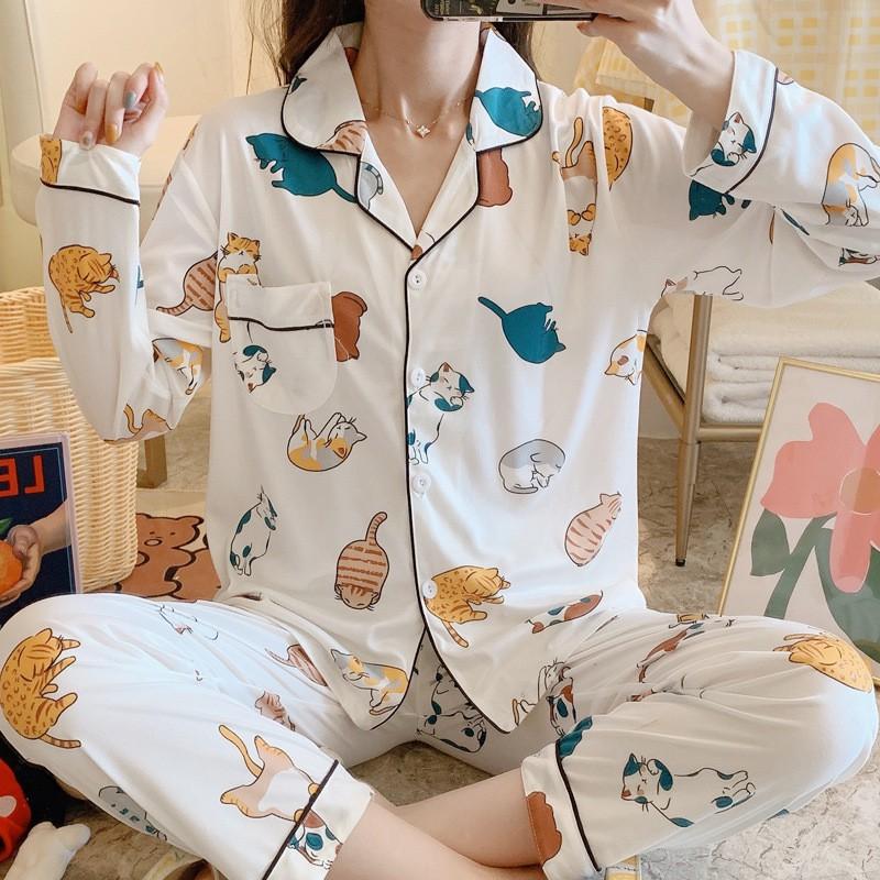 Bộ Pijama Dài Tay Thu Đông - Sợi Tơ Sữa Mềm, Mịn - Nhiều Mẫu Quảng Châu Đa Dạng - Siêu Dễ Thương