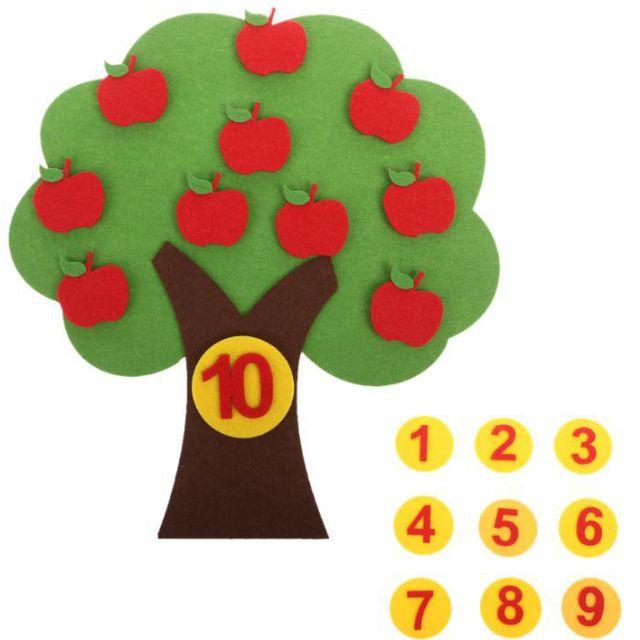 Bộ đồ chơi toán học Cây táo đếm số làm học cụ Montessori