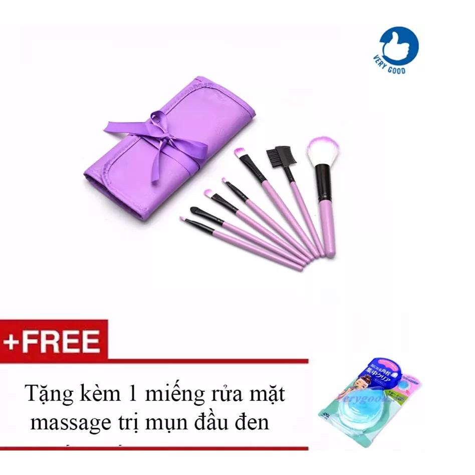 Bộ cọ trang điểm 7 món + Tặng 1 miếng rửa mặt massage