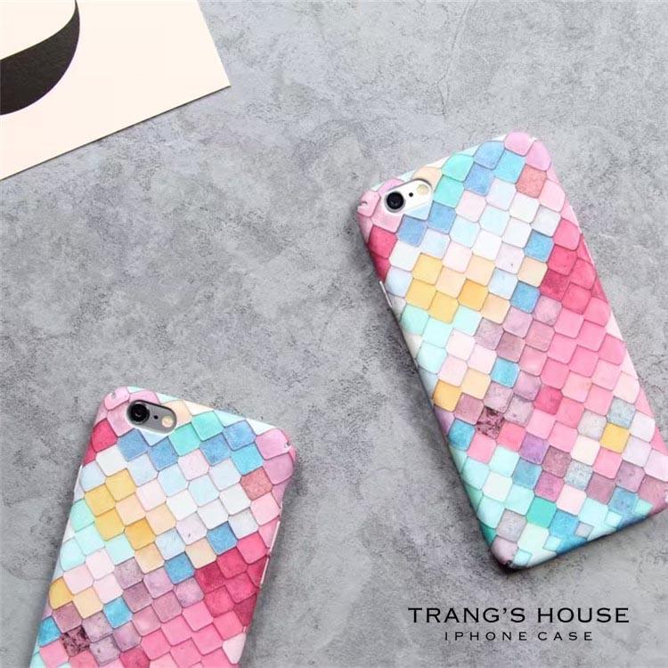 Ốp Lưng Iphone Checkered Gradient Mặt Lưng Nhám In 3D Nổi