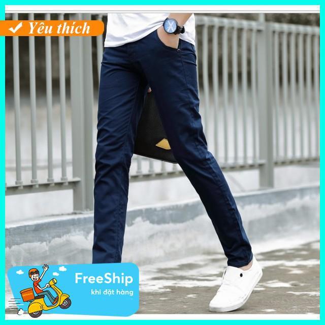 [Sale upto 50%] Quần kaki dáng hàn quốc màu xanh đen Thời trang nam mùa hè