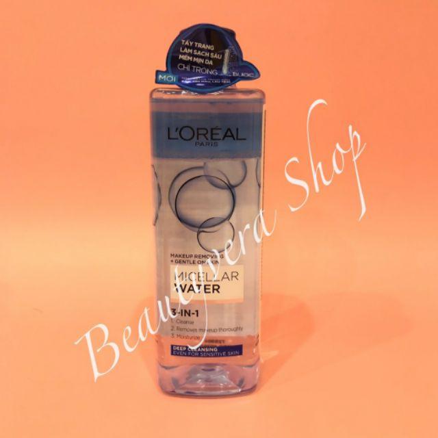 Nước tẩy trang cho mọi loại da L'Oreal Paris 3-in-1 Micellar Water 400ml ( xanh đậm )