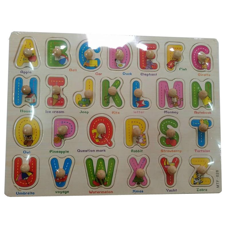 Đồ chơi gỗ cho bé Bảng chữ cái Tiếng Anh có núm gỗ - BA102