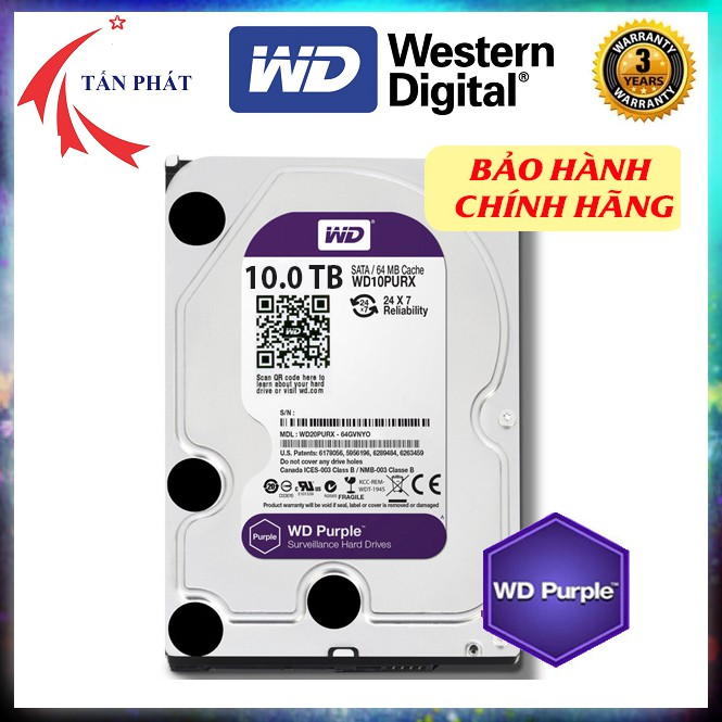 """Western Purple HDD ( Màu tím chuyên camera) 6TB, 8TB, 10TB 3.5"""" SATA chính hãng tem SPC bảo hành chính hãng tại Việt Nam"""