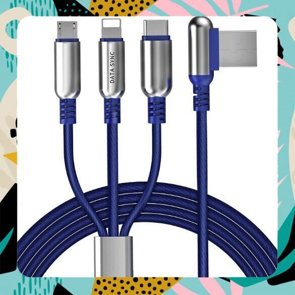 [SALE CỰC HOT]Cáp Sạc 3 đầu Hoco U17 - Lightning Và Micro USB - Type C- Dây 1.5 Mét - Chính Hãng