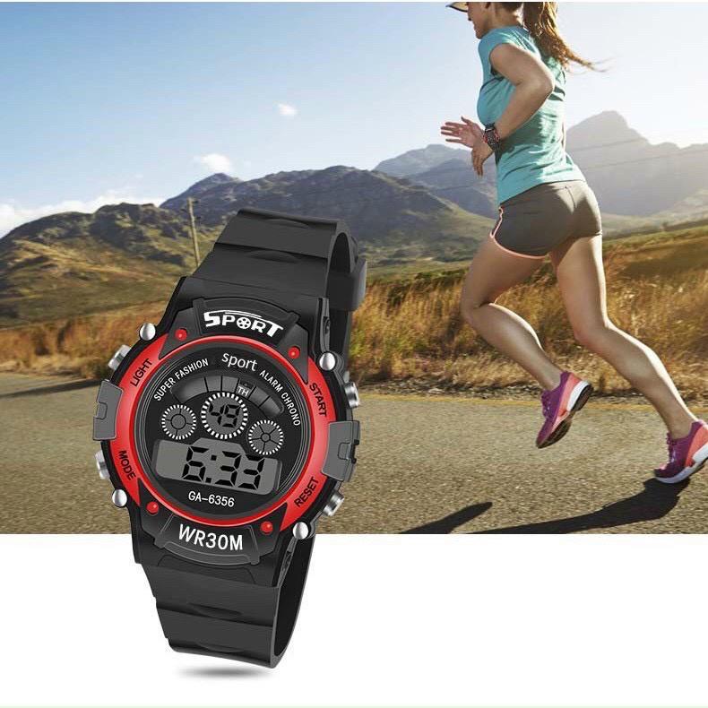 Đồng hồ điện tử thời trang nam nữ Sport Sp4 viền màu mặt tròn đây nhựa dẻo b5ce