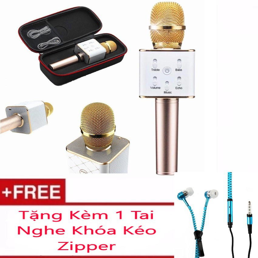 Micro Karaoke tích hợp Loa Bluetooth Q7 Tặng Kèm Tai Nghe Khóa Kéo Zipper (Màu Ngẫu Nhiên)