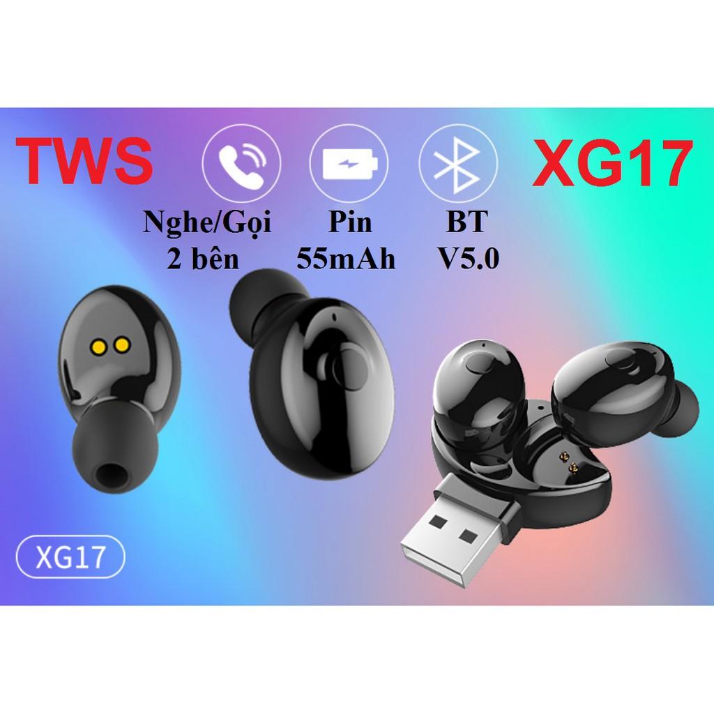 Tai Nghe Bluetooth 2 Bên XG17 - Có tăng giảm âm lượng trên tai nghe