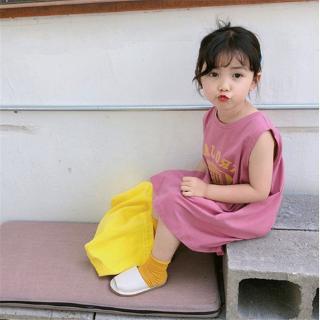Đầm thun không tay dáng suông in chữ đáng yêu cho bé gái