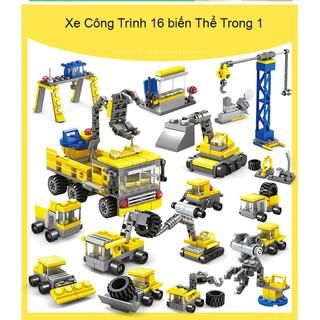 Lắp Ráp Kiểu LEGO Xe Công Trình 16 biến thể trong 1 Model 80451 KAZI 500 Mảnh Ghép