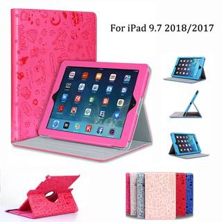 Ốp lưng cho Apple iPad 9.7 inch 2018 2017 Magic xoay 360 độ Cô gái dễ thương Flip PU Leather Folding Stand Vỏ chống sốc