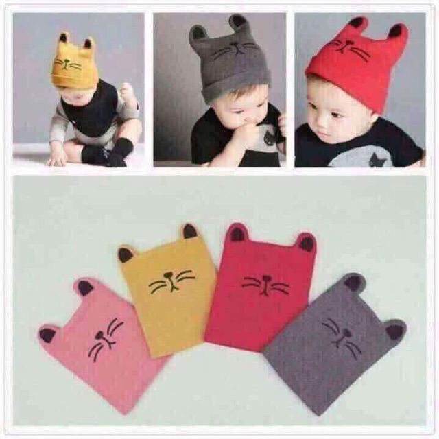Mũ len mèo cho bé trai v