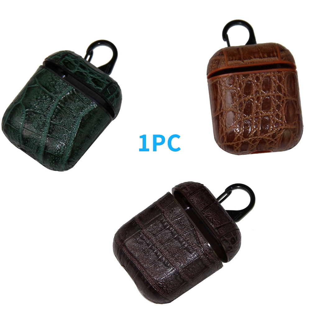 Earphone Case Accessories Mini With Clip Artificial Leather Lightweight Alligator Print Storage For Apple AirPod