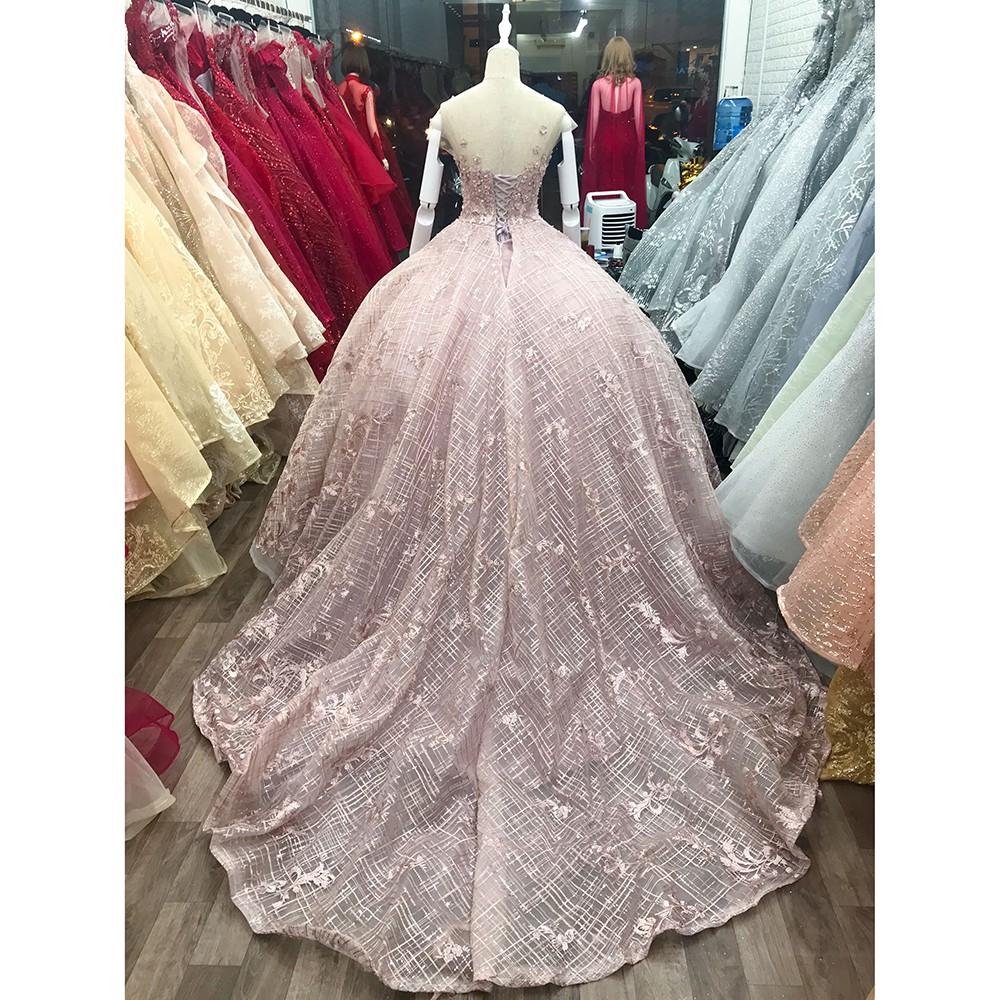 áo cưới dòng luxury kiểu tùng búp bê đuôi lê màu xám ACTL0003 | SaleOff247