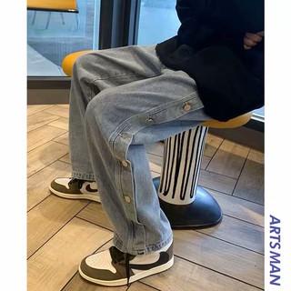 [ORDER-CÓ BIG SIZE] Quần bò jeans ống rộng oversize cách điệu cúc hông Ulzzang streetstyle siêu chất ❤️