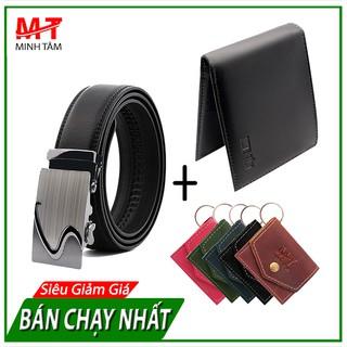 Thắt Lưng Nam Da Cao Cấp Minh Tâm MT005 + Tặng Kèm 1 Ví Nam, 1 móc khóa da thật (5 mẫu tùy chọn)