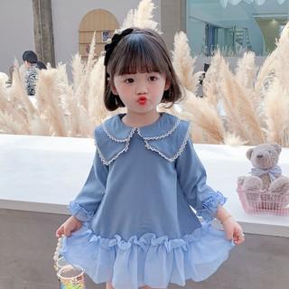 Váy công chúa xanh dài tay cho bé gái Sophia V48