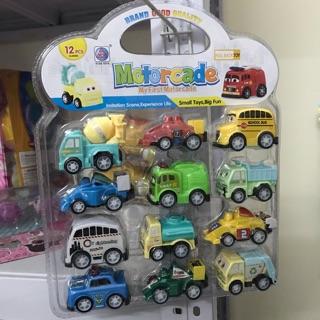 Bộ xe đồ chơi chạy cót 12 chiếc