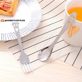 Nĩa / thìa thiết kế mặt cười bằng thép không gỉ chuyên dụng khi dùng tiệc trà