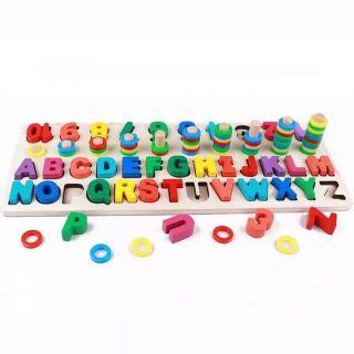 Giáo Cụ Montessori Cột Tính Học Đếm Và Ghép Chữ Cái Đa Năng Bằng Gỗ, Đồ Chơi Cho Bé