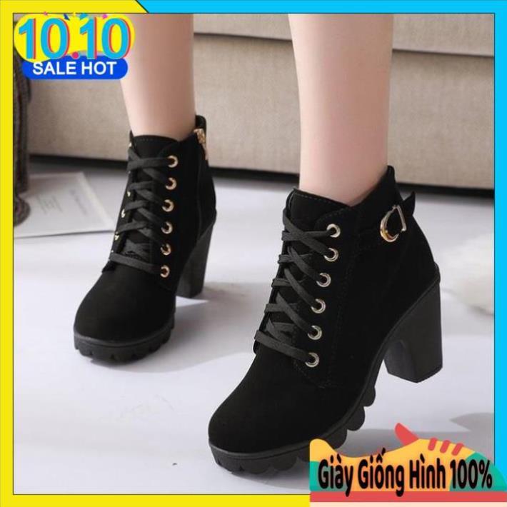 Giày Boot Nữ Cao Cổ Dễ Phối Đồ Chát Da Nỉ Đế Cao 7cm