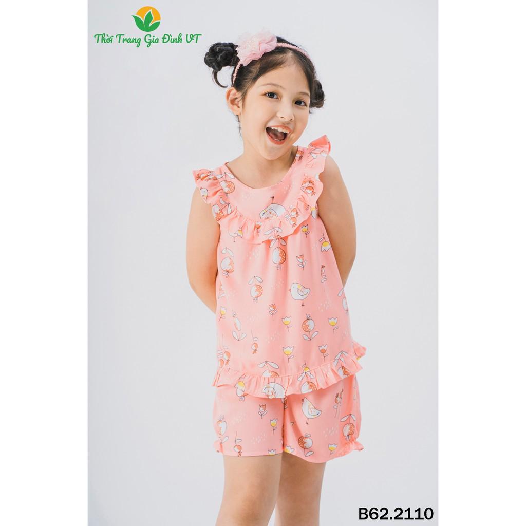 Bộ lanh mặc nhà bé gái quần đùi, áo sát nách B62.2110 - Thời Trang Gia Đình VT