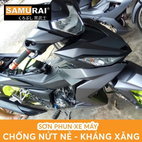 COMBO Sơn Samurai màu xám nhám K414* cho dàn áo xe máy