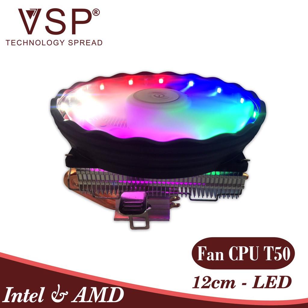 Tản nhiệt khí CPU 4 ống đồng VSP T50-4U Top-down 12cm LED nhiều ...
