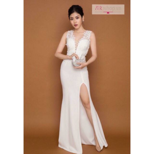 Đầm dạ hội ren trắng