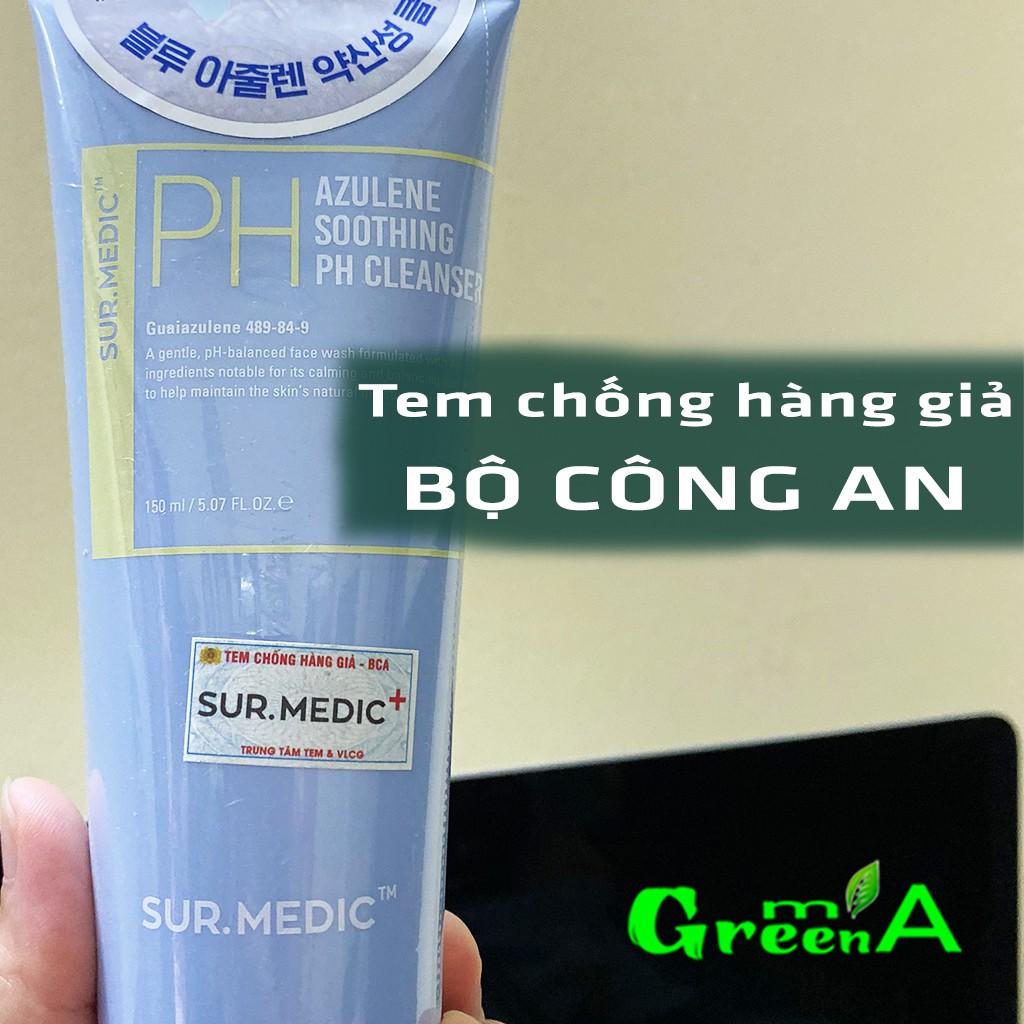 Sữa Rửa Mặt Sur Medic Dạng Gel Cân Bằng PH Cấp Ẩm Sur.Medic Azulene Soothing pH Cleanser 150ml [NHẬP KHẨU]