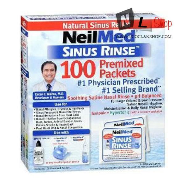Bộ 100 gói muối pha NeilMed Sinus Rinse 100 Premixed Packets