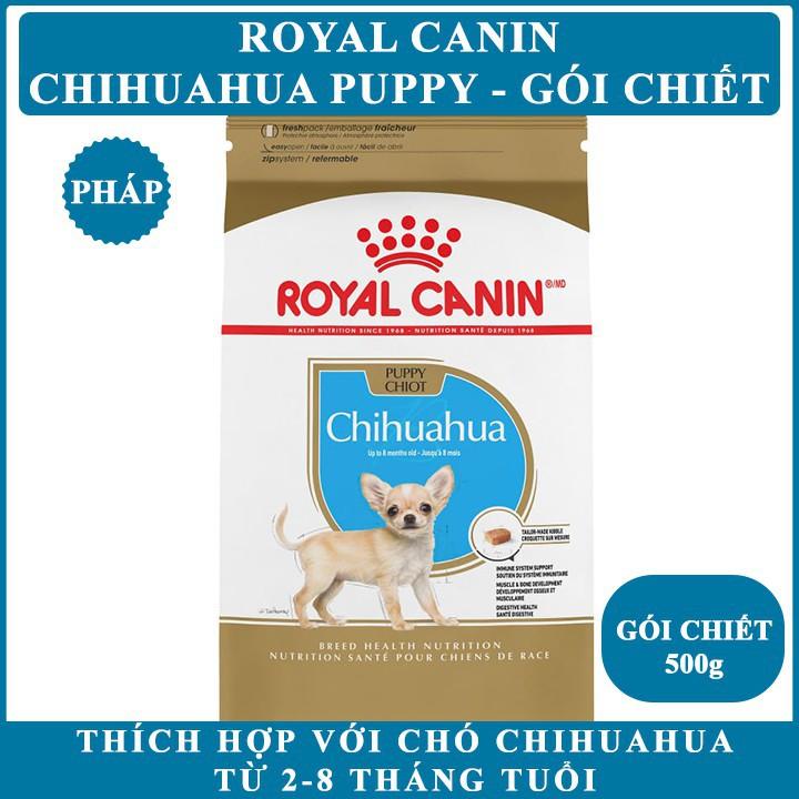 [GÓI CHIẾT] Thức ăn hạt khô cho Chó Royal Canin Chihuahua Puppy - Gói Chiết 500g - Cho Chihuahua 2-8 tháng tuổi