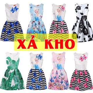 [XẢ KHÔ MÁU- HÀNG QUẢNG CHÂU ĐẸP] váy đầm mùa hè cho mẹ và bé in hình elsa anna mặc rất xinh có mầu hồng màu xanh