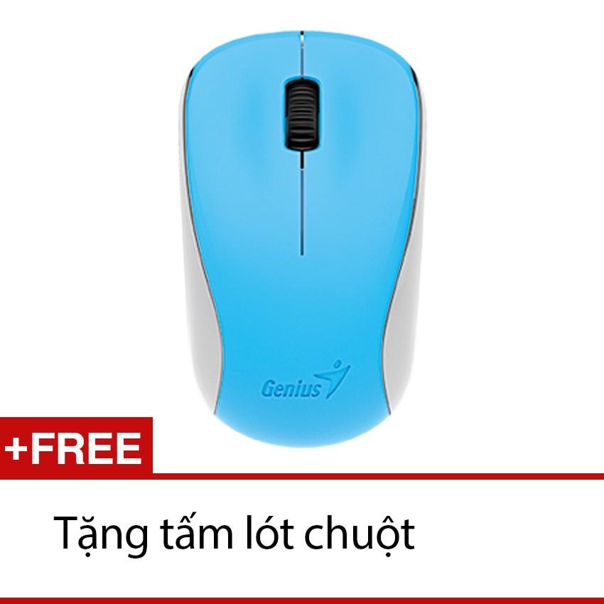 Chuột không dây Genius 7000 + tặng MousePad (Xanh dương)