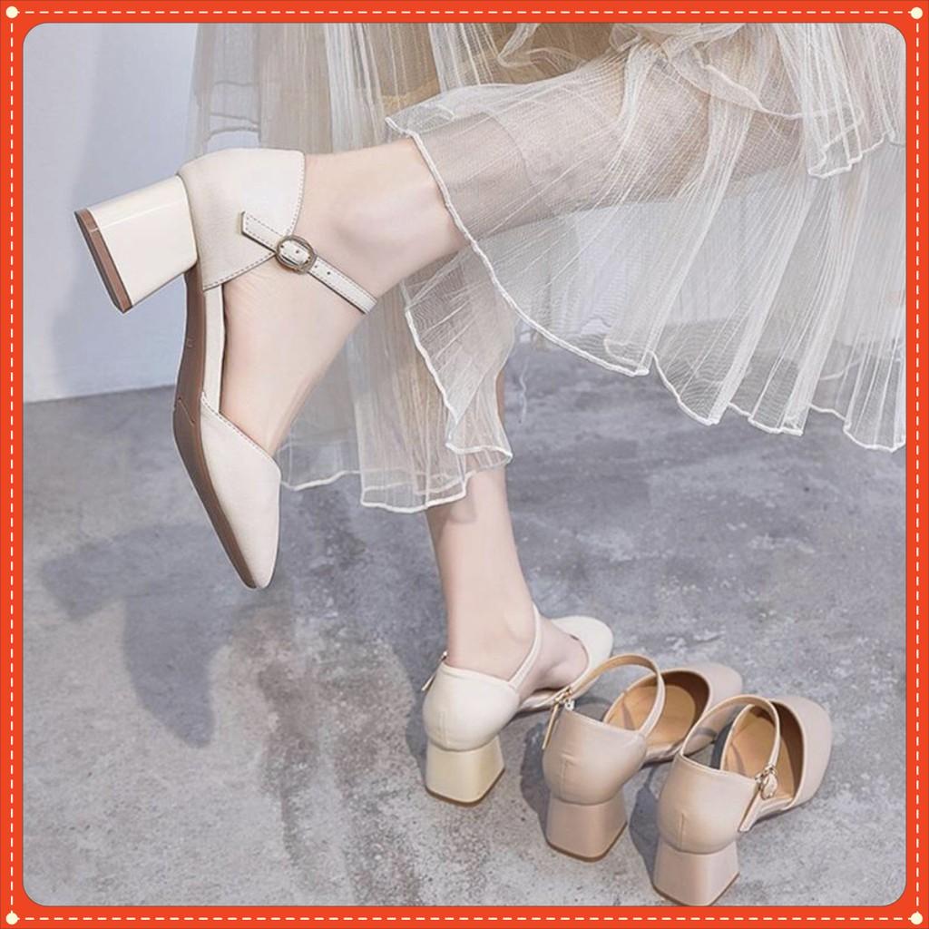 Giày Mũi Nhọn Mã C4 Phối Dây Hở Gót Cao 5cm (BÍT HẬU)