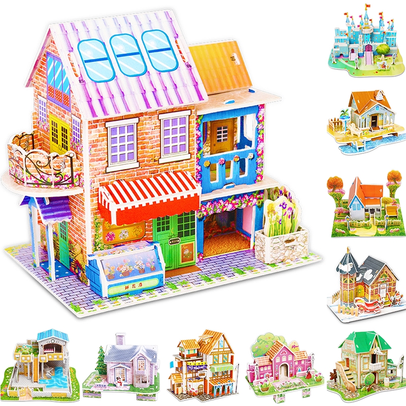 3D Model Castle Toy Puzzle Diy Children Kids Jigsaws Educational Process Gift